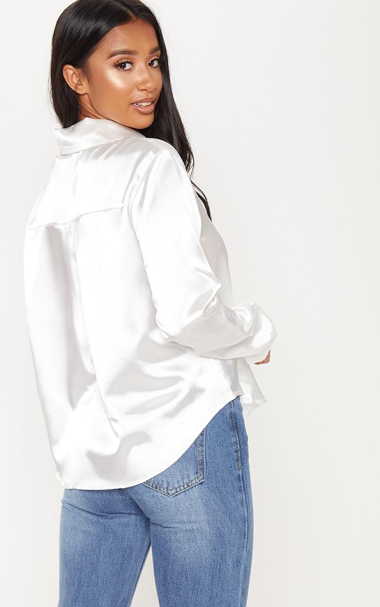 Petite White Satin Shirt 2
