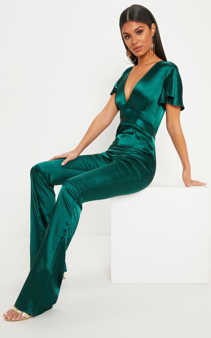 Emerald Green Satin Button Detail Flared Leg Jumpsuit 4