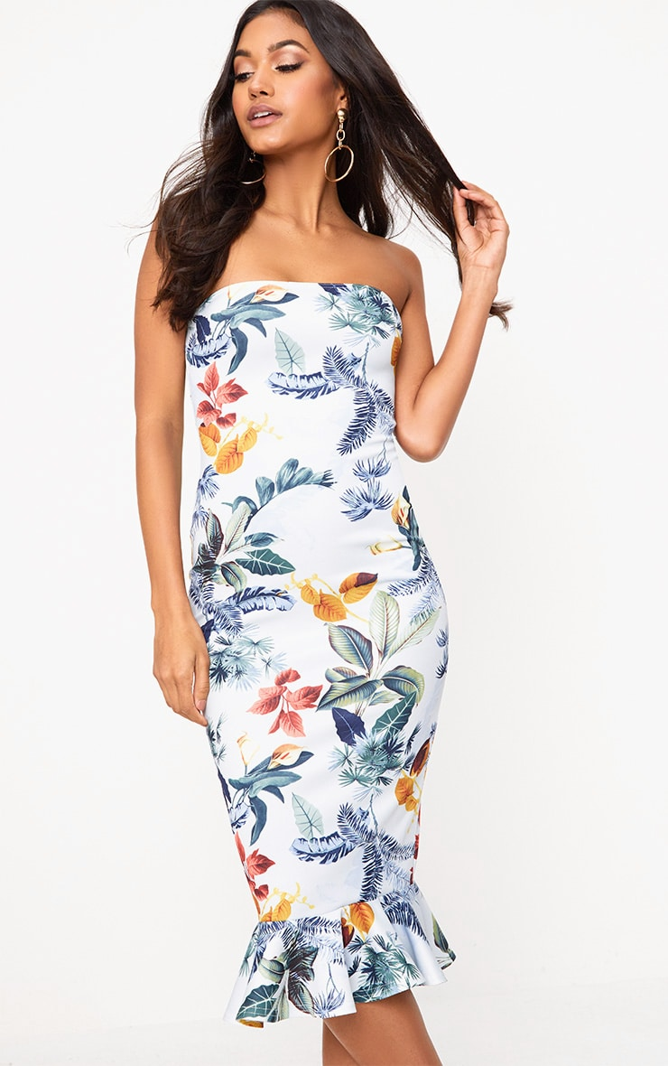 Dusty Blue Floral Bandeau Frill Hem Midi Dress 1