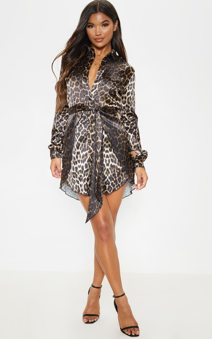 Tan Leopard Print Satin Tie Waist Curve Hem Shirt Dress 4