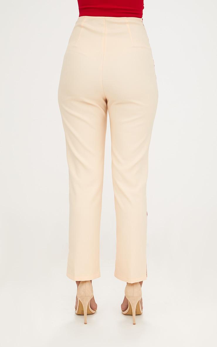 Nude Satin Stripe Formal Trousers 4