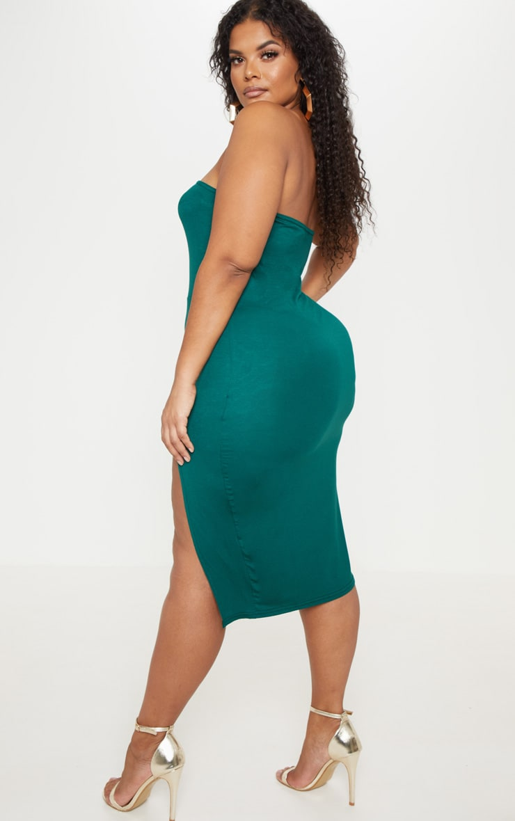 Plus Emerald Green Bandeau Split Front Midi Dress 2