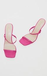 Pink PU Strappy Heeled Mules 3