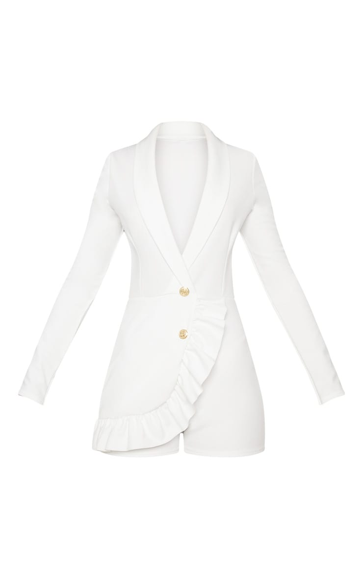 White Frill Long Sleeve Tux Romper 3