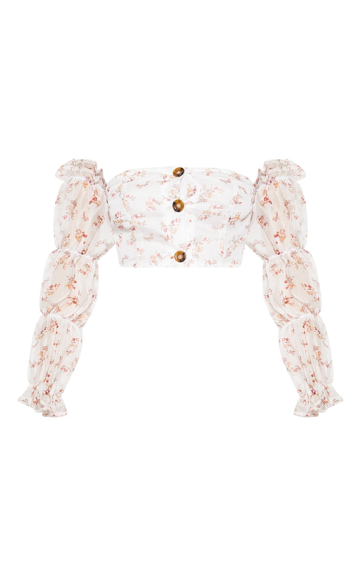 White Floral Print Chiffon Button Detail Puff Sleeve Shirt 3