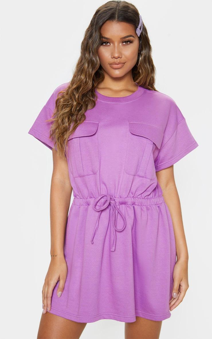 Robe pull lilas à poches et lien à la taille 1