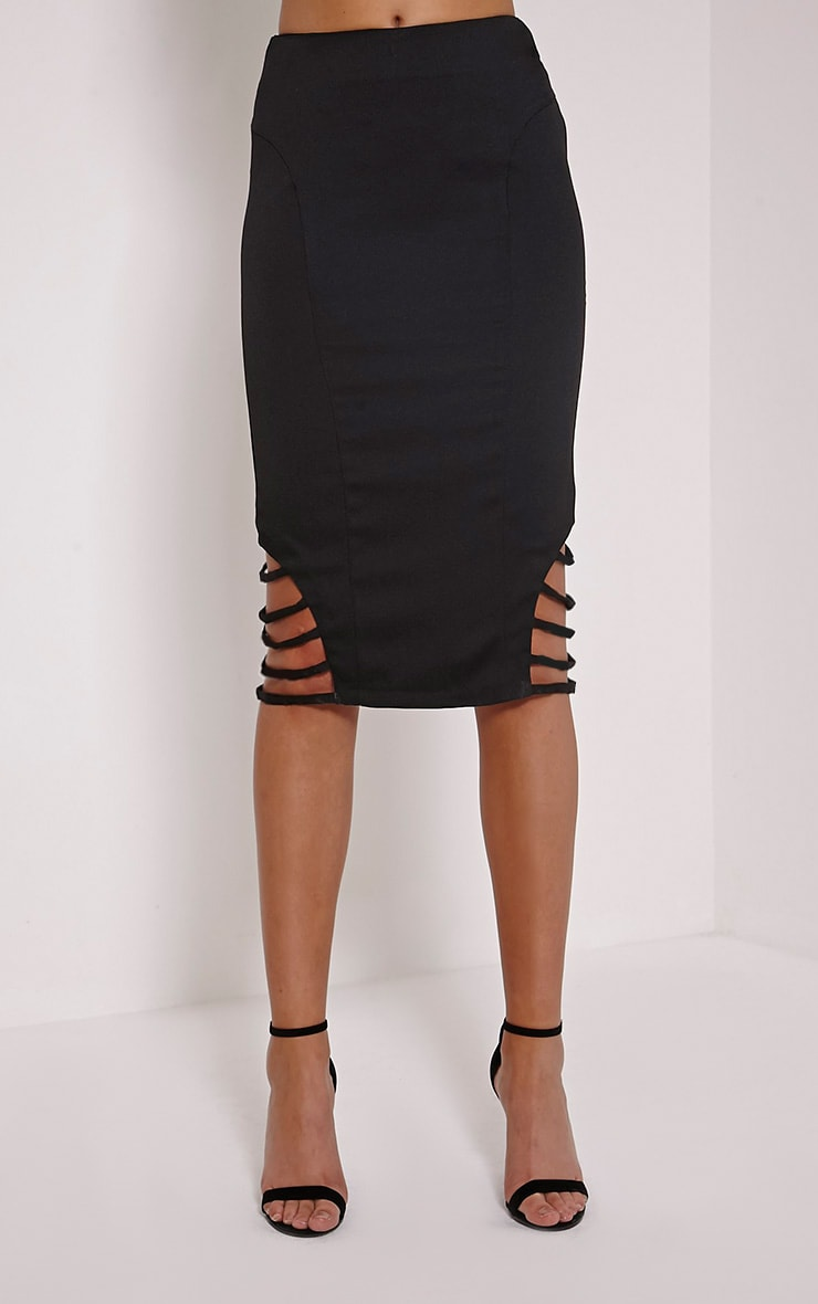 Wilow Black Ladder Cut Out Midi Skirt 2