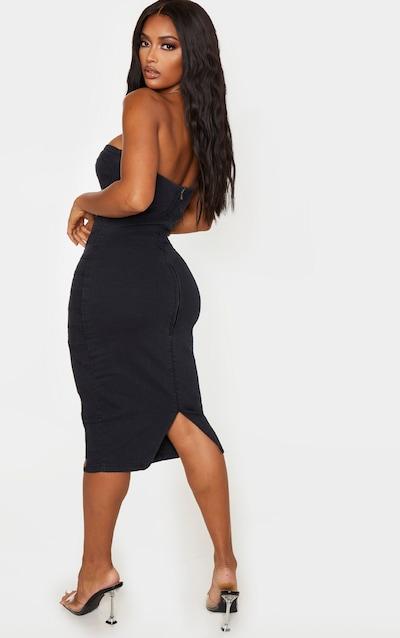 Shape Black Denim Corset Detail Midi Dress