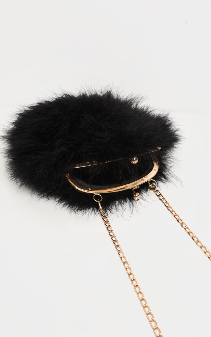 Black Marabou Feather Cross Body Bag 3