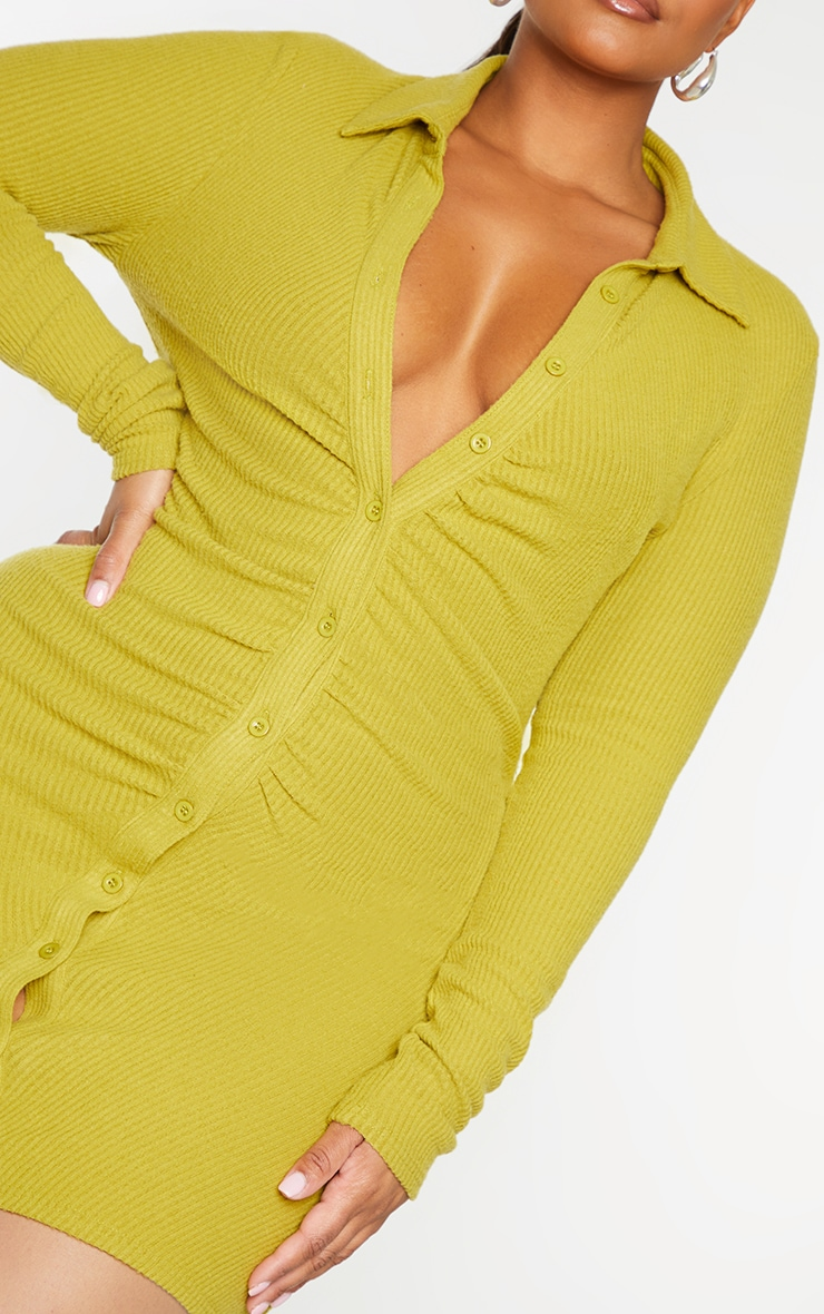 Plus Chartreuse Brushed Rib Long Sleeve Ruched Shirt Dress 4