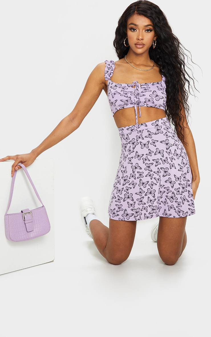 Purple Butterfly Print Floral Frill Keyhole Tie Crop Top 3