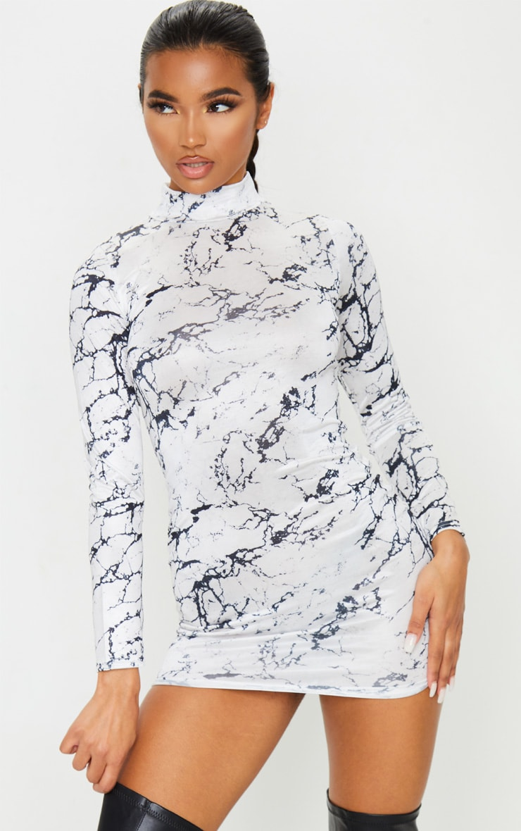 White Marble Print Slinky High Neck Long Sleeve Bodycon Dress 1