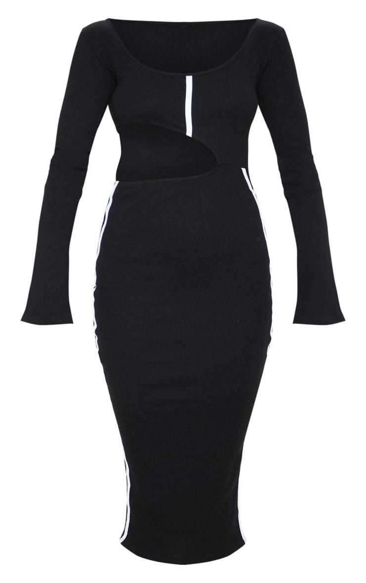 Black Rib Contrast Trim Cut Out Long Sleeve Midi Dress 3