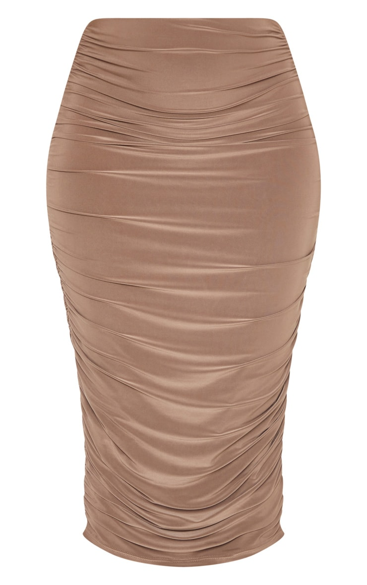 Taupe Slinky Second Skin Ruched Midi Skirt 3