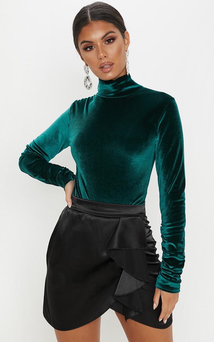 Emerald Velvet Roll Neck Ruched Sleeve Bodysuit 1