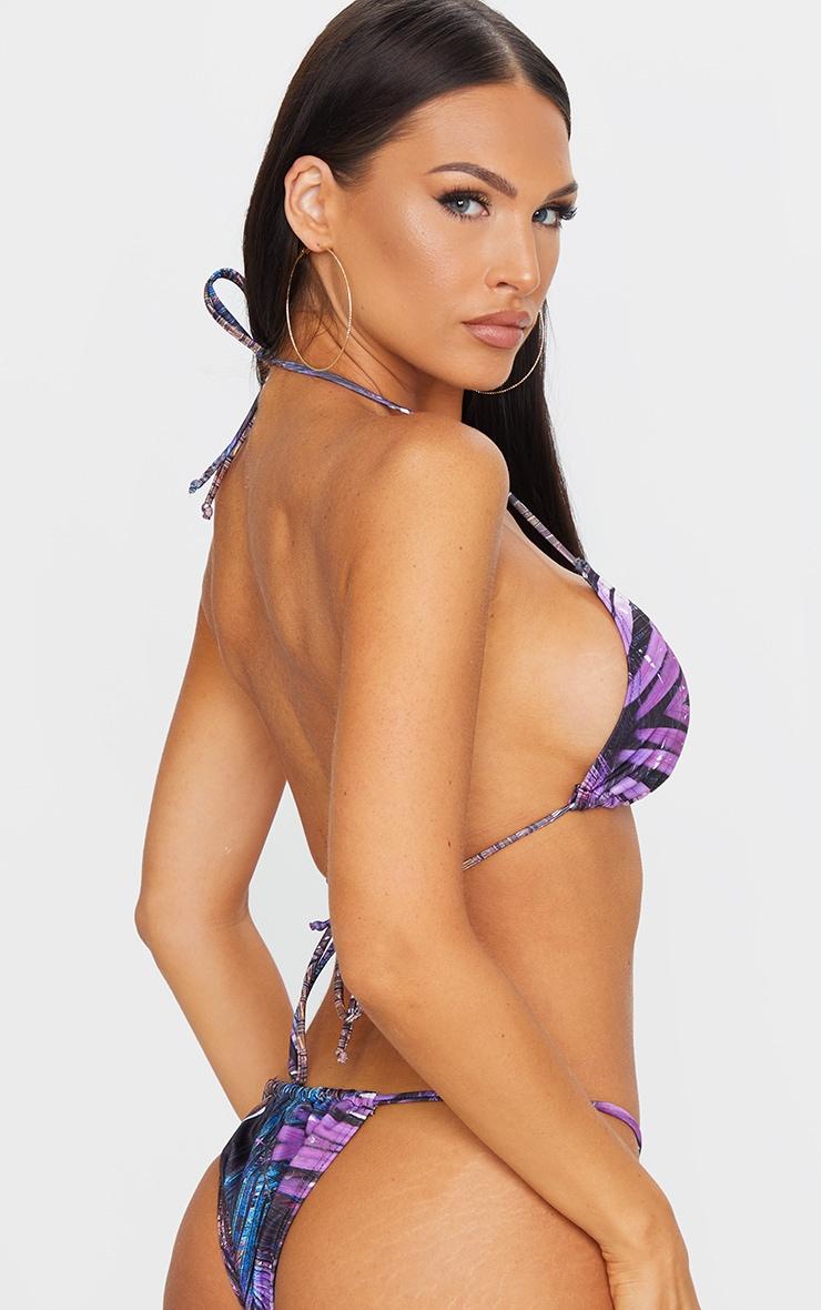 Purple Palm Print Mini Triangle Bikini Top 2