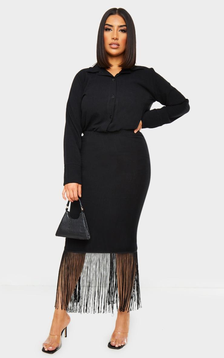 Black Woven Midi Fringe Detail Skirt 1