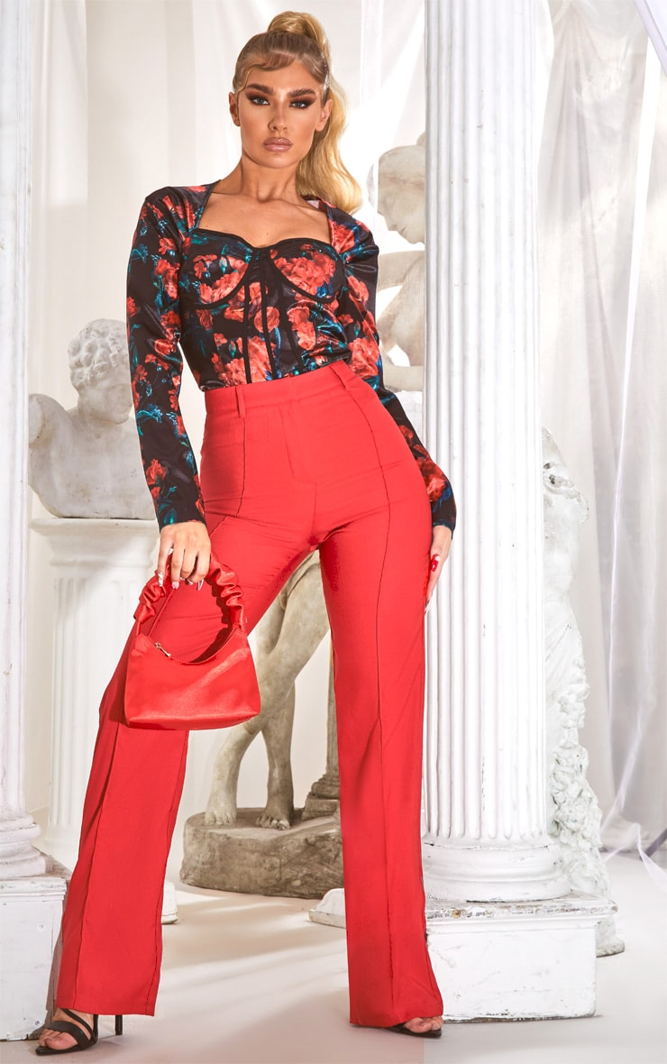 Red High Waisted Straight Leg Pants 1