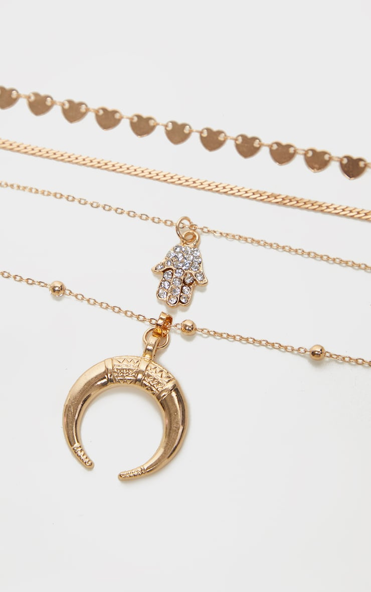 Gold Bull Horn And Hamsa Hand Charm Layering Necklace 5