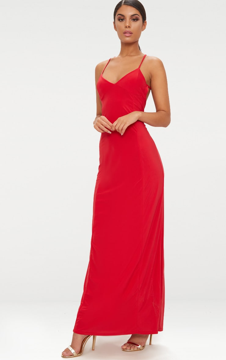 Red Slinky Backless Strappy Plunge Maxi Dress 4