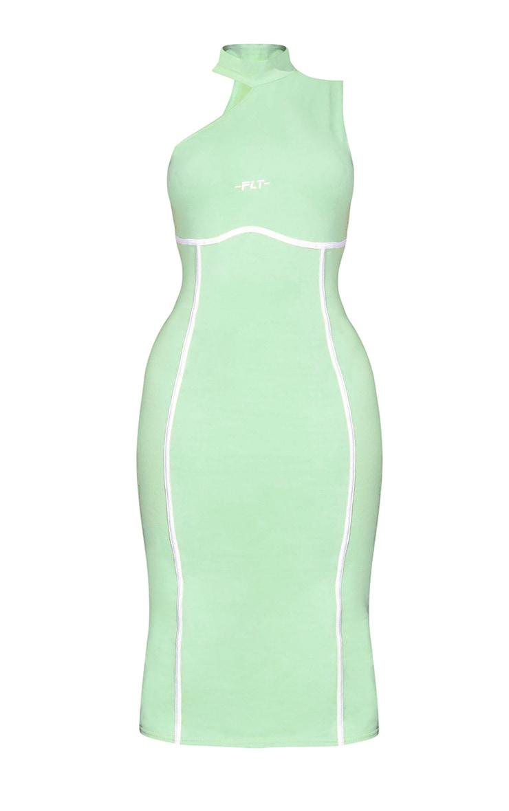 PRETTYLITTLETHING Petite Green Binding Detail High Neck Midi Dress 5