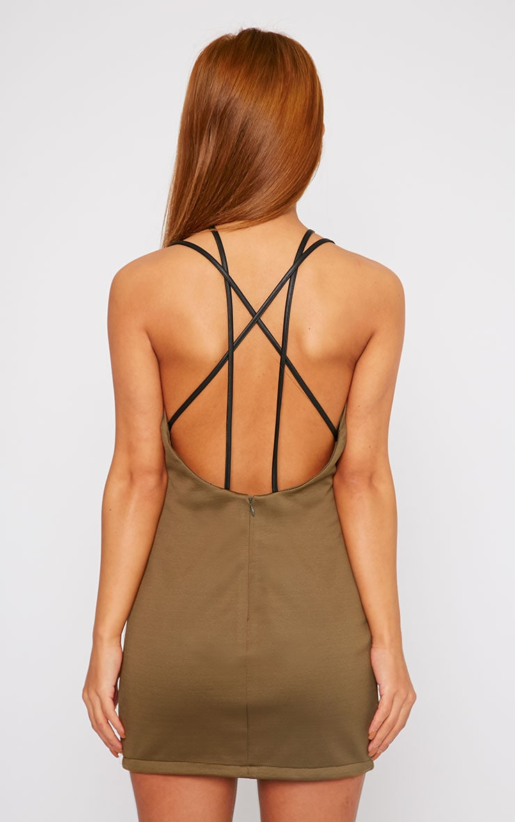 Jessie Khaki PU Croc Panel Mini Dress 2