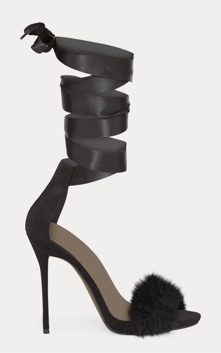 Black Fur Strappy Leg Tie Sandal 3
