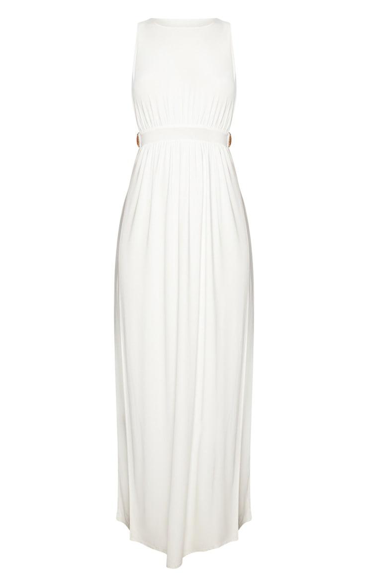 White Lion Buckle Side Boob Extreme Split Leg Maxi Dress 3