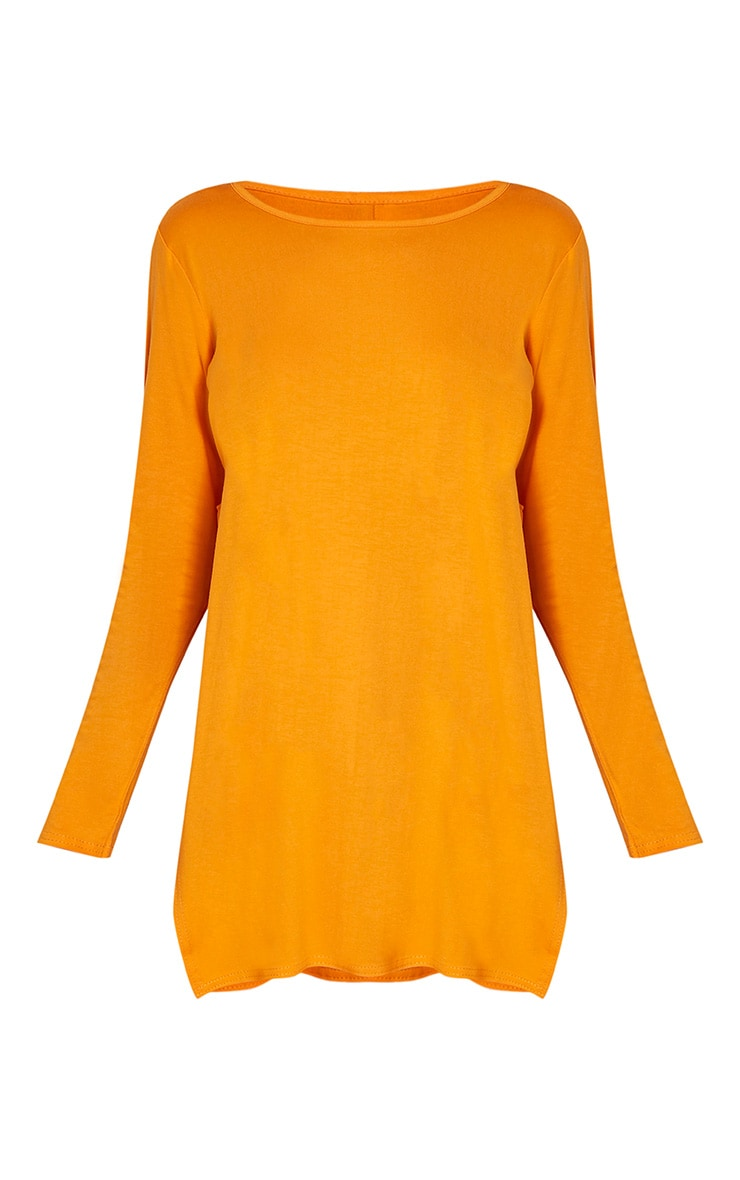 Basic Bright Orange Long Sleeve Side Split Top 3