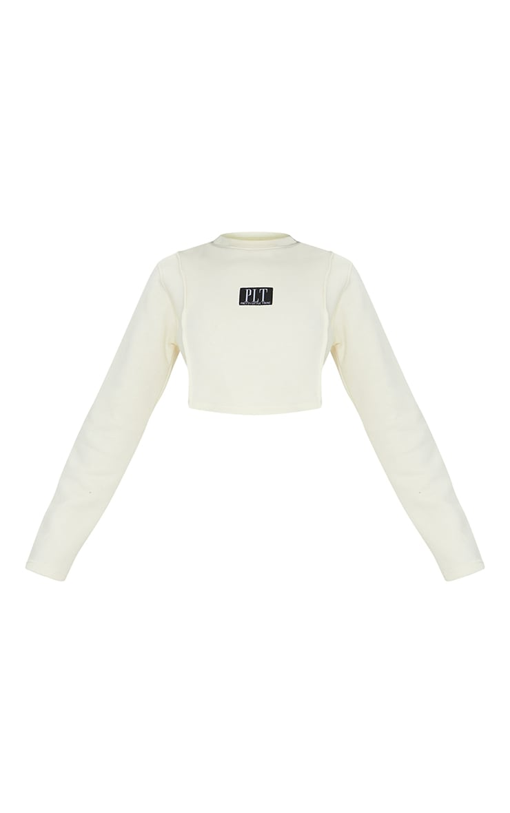 PRETTYLITTLETHING Cream Badge Cropped Sweat 5