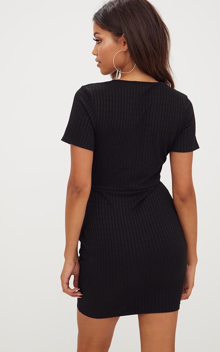Black Ribbed Wrap Dress 2