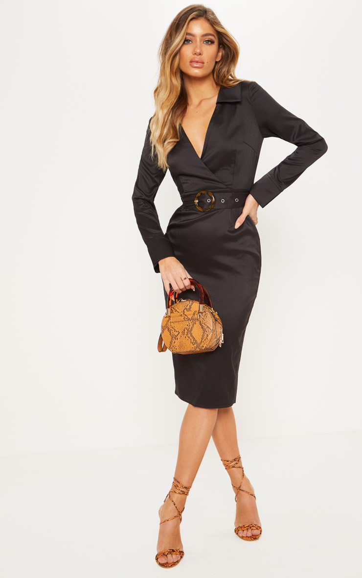 Black Tortoise Shell Buckle Midi Blazer Dress by Prettylittlething