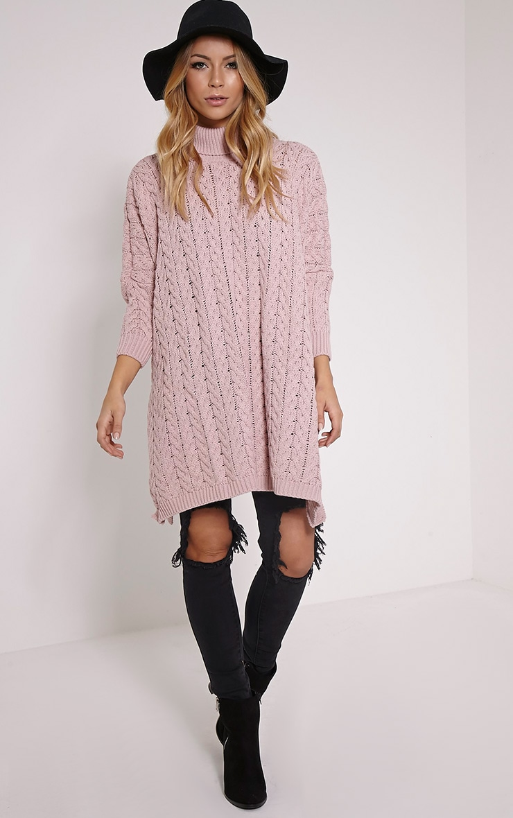 Juju Dusty Pink Cable Knit Oversized Jumper 3