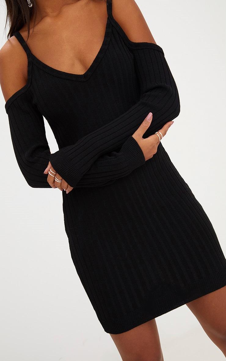 Black Cold Shoulder Knitted Mini Dress  4