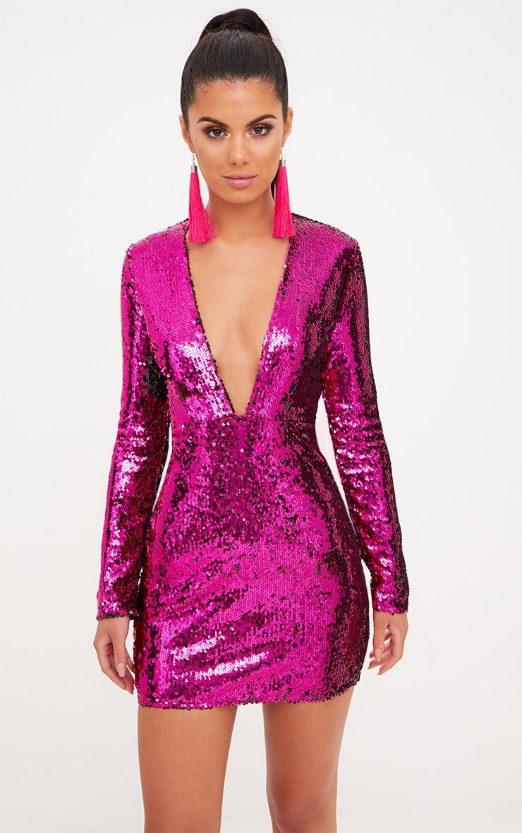 Pink Plunge Sequin Bodycon Dress 1