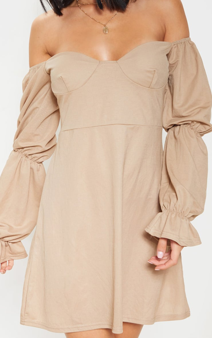 Stone Cup Detail Tiered Sleeve Shift Dress 5