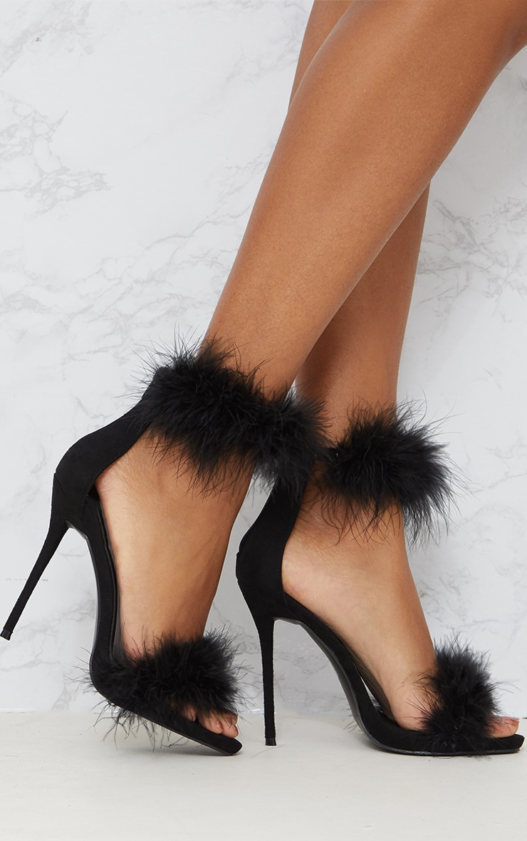 Black Feather Strap Heels 1