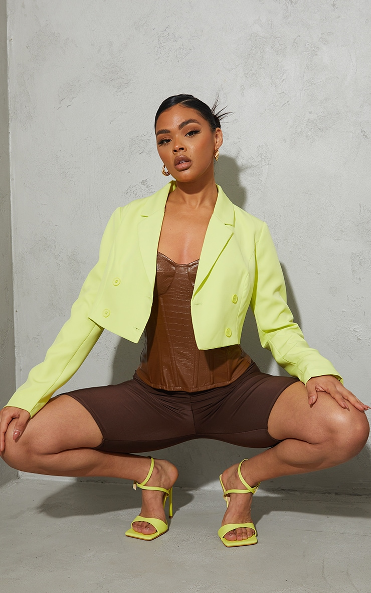 Lime Double Breasted Cropped Blazer 3