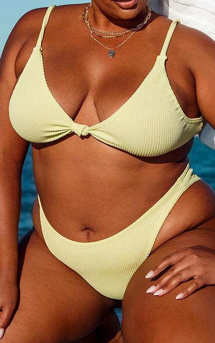 Plus Sage Green Crinkle Knot Front Plunge Bikini Top 4