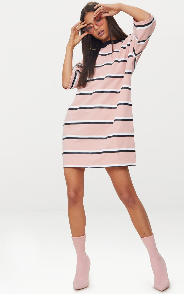 Pink Striped Oversized Boyfriend T Shirt Dress 4