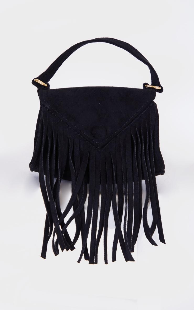 Black Faux Suede Fringe Mini Bag 2
