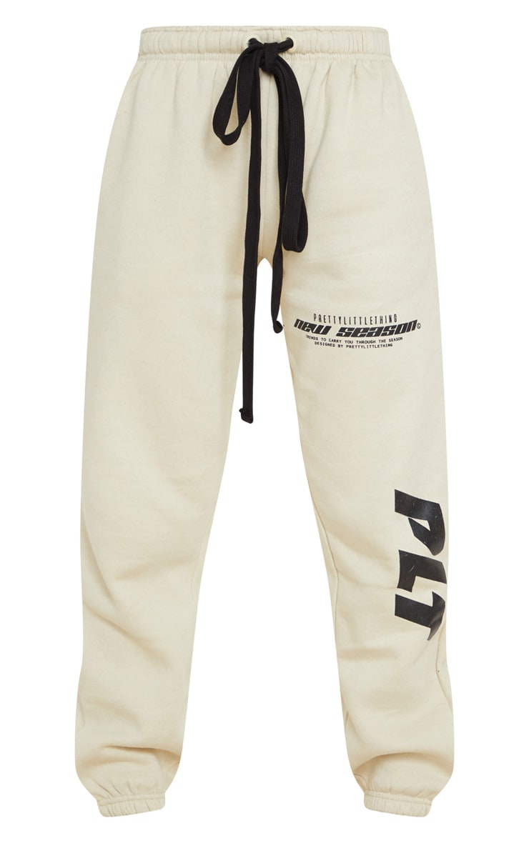 PRETTYLITTLETHING Sand New Season Graphic Joggers 5