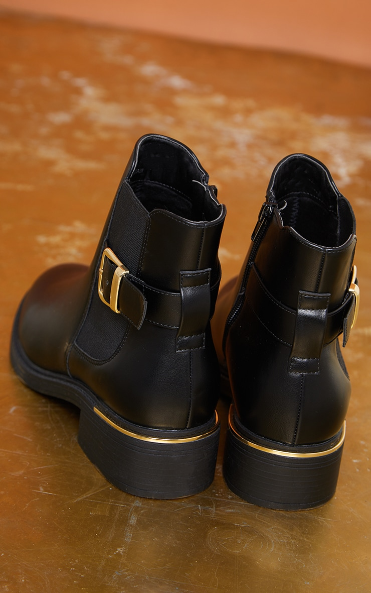 Black Wide Fit Buckle Chelsea Boots 4