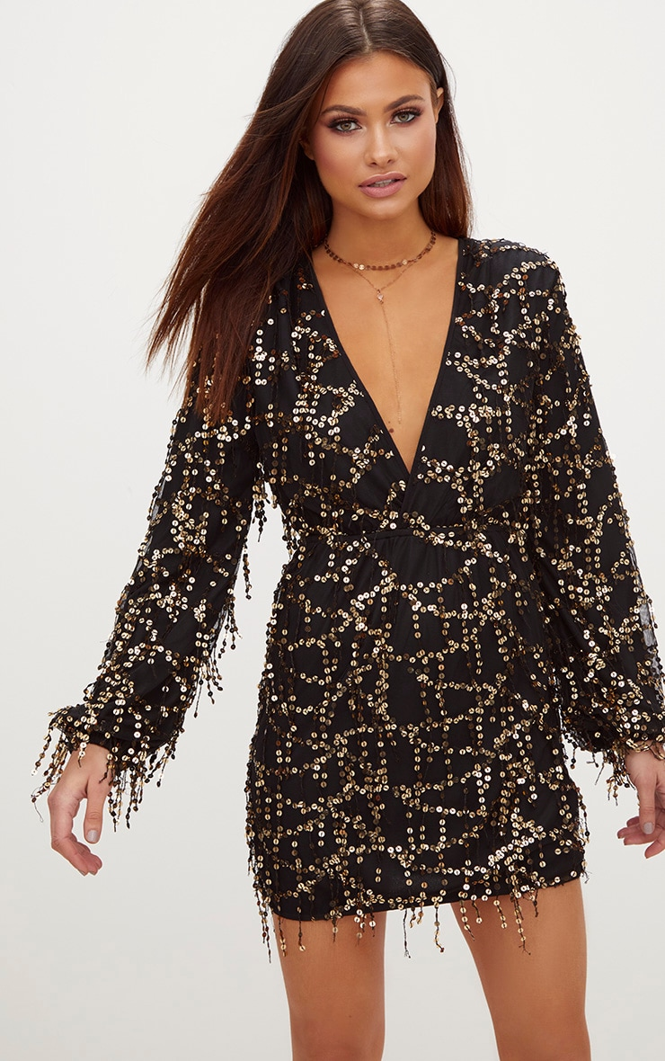 Black Plunge Sequin Long Sleeve Bodycon Dress
