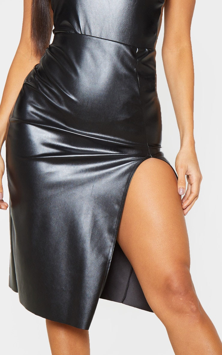 Black Faux Leather Extreme Split Midi Skirt  5