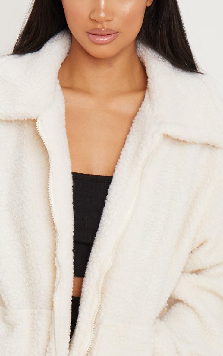 Petite Cream Borg Zip Up Oversized Jacket 5