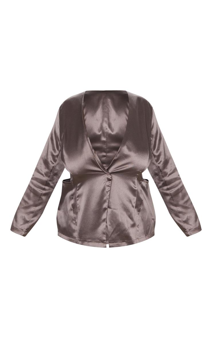 Plus Mocha Satin Pocket Detail Blazer 4
