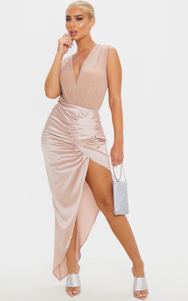 Nude Textured Glitter Deep Plunge Bodysuit  3
