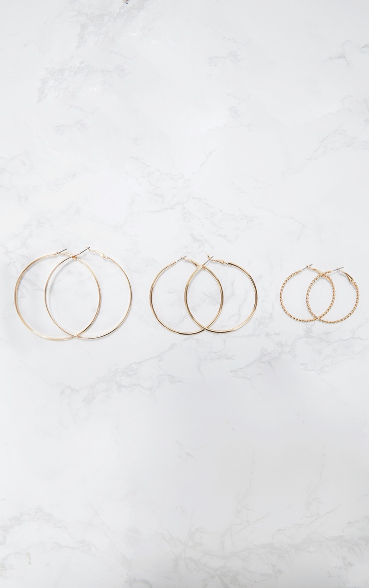 Gold Three Pack Assorted Hoop Earrings 1