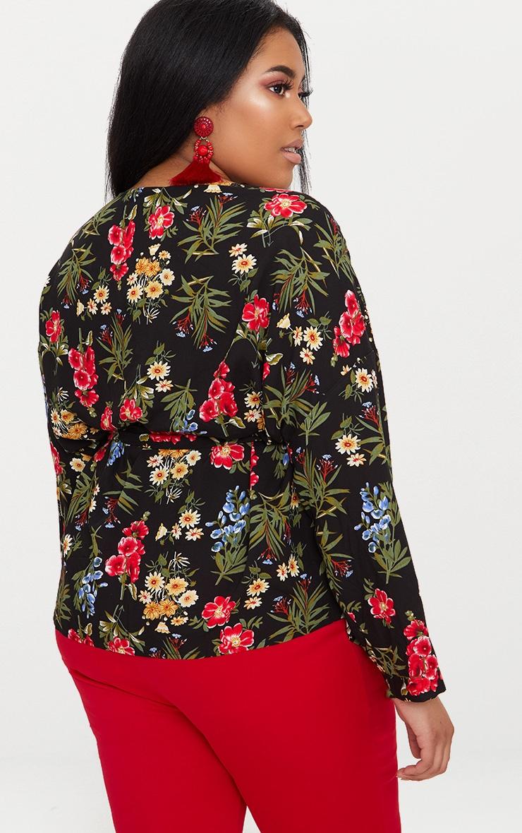 Plus Black Floral Print Tie Waist Blouse 2